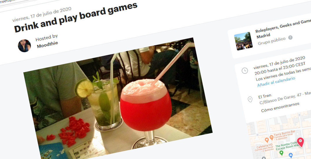 How to find people boardgames with Meetup example